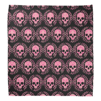 Pink and Black Skulls Bandana