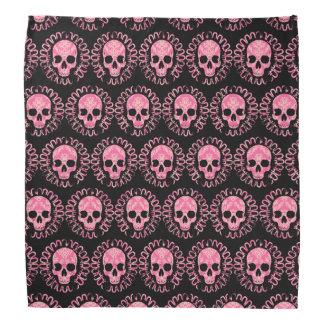 Pink and Black Skulls Head Kerchief