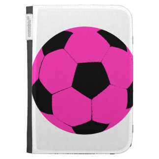 Pink and Black Soccer Ball Kindle Keyboard Case