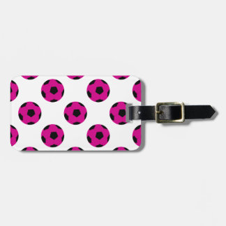 Pink and Black Soccer Ball Pattern Luggage Tag