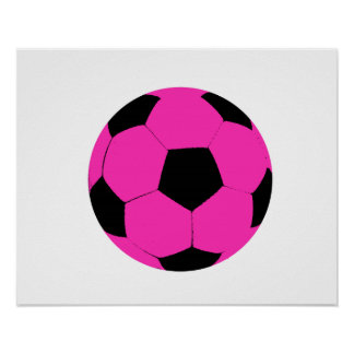 Pink and Black Soccer Ball Poster