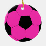 Pink and Black Soccer Ball Round Ceramic Decoration
