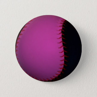 Pink and Black Softball 6 Cm Round Badge