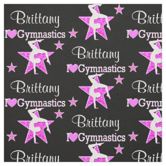 PINK AND BLACK STAR PERSONALIZED GYMNASTICS FABRIC