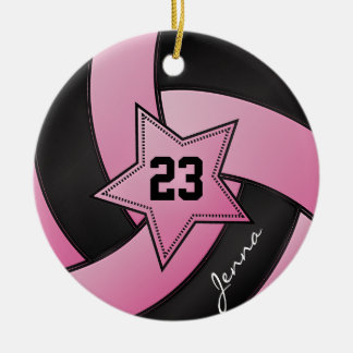 Pink and Black Star Volleyball Round Ceramic Decoration