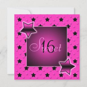 Pink and Black Stars Sweet Sixteen Invitation