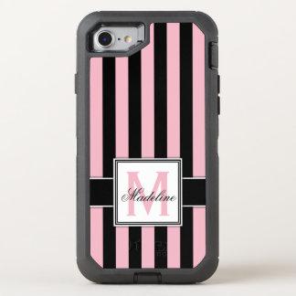 Pink and Black Stripes Monogram OtterBox Defender iPhone 8/7 Case