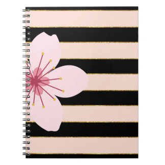 Pink and Black Stripes, Pink Flower Notebook