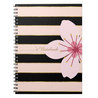 Pink and Black Stripes, Pink Flower, Personalised Notebooks