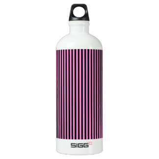 Pink and Black Stripes Water Bottle
