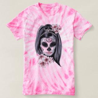 Pink and Black Sugar Skull Hippie Girl T-Shirt