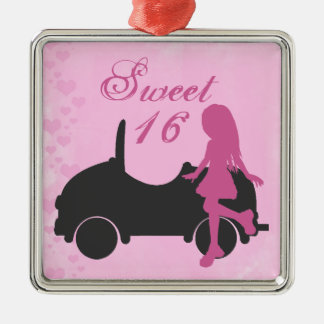 Pink and Black Sweet 16 Silhouette Girl and Car Christmas Ornament