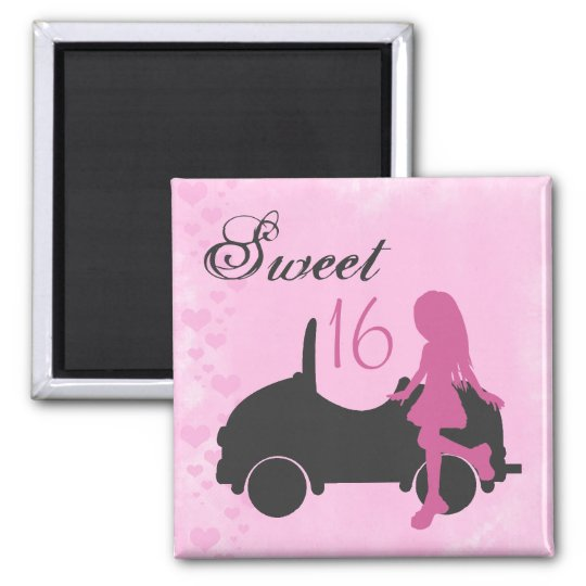Pink and Black Sweet 16 Silhouette Magnet