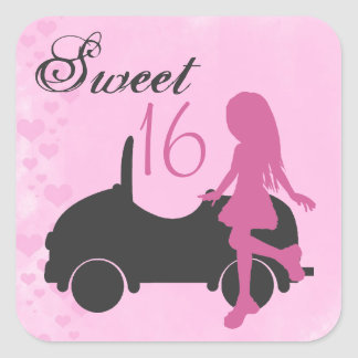 Pink and Black Sweet 16 Silhouette Stickers