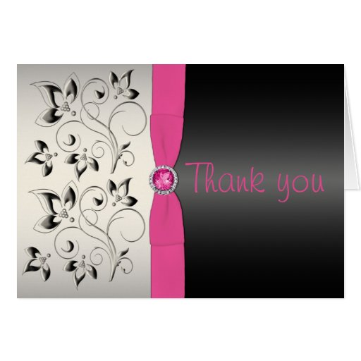 Pink and Black Thank You Card Cards