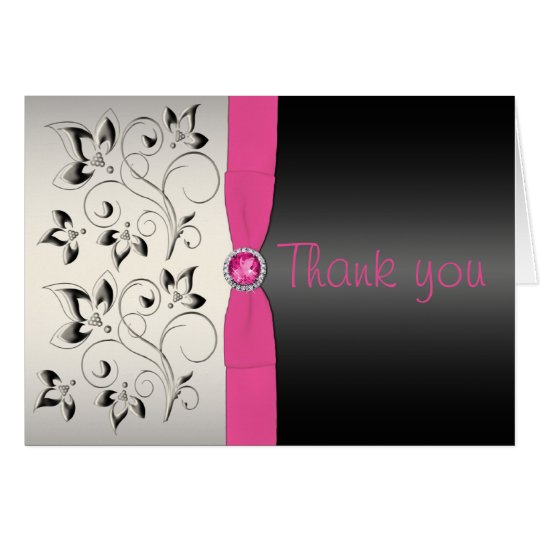 Pink and Black Thank You Card