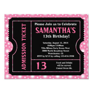 Pink and Black Ticket Invitation, Any Age 11 Cm X 14 Cm Invitation Card