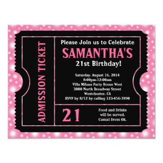 Pink and Black Ticket Invitation, Any Age Card