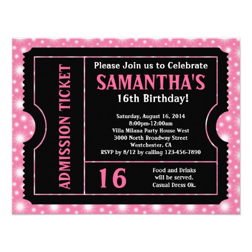 Pink and Black Ticket, Sweet 16 or Any Age Personalized Announcements