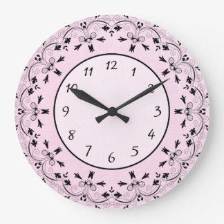 Pink and Black Tribal Border Elegant Clock