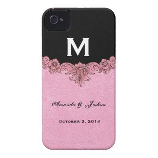 Pink and Black Vintage Monogram Wedding Favor V30 iPhone 4 Cover