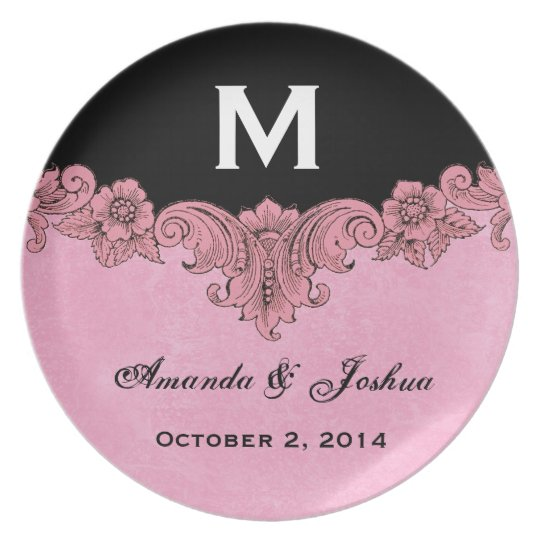 Pink and Black Vintage Monogram Wedding Favour V30 Plate