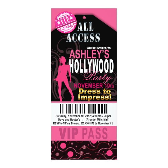 Pink and Black VIP Hollywood Ticket Party Card