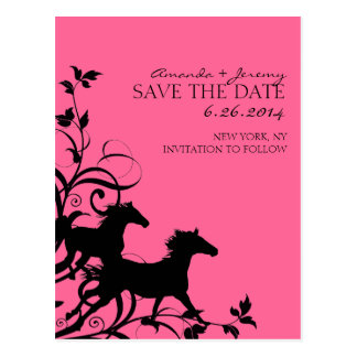 Pink and Black Wild Horses Save the Date Postcard