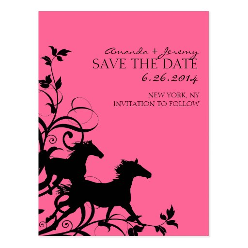 Pink and Black Wild Horses Save the Date Post Cards