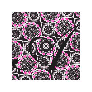 Pink and Black with Monogram Initial Canvas Print