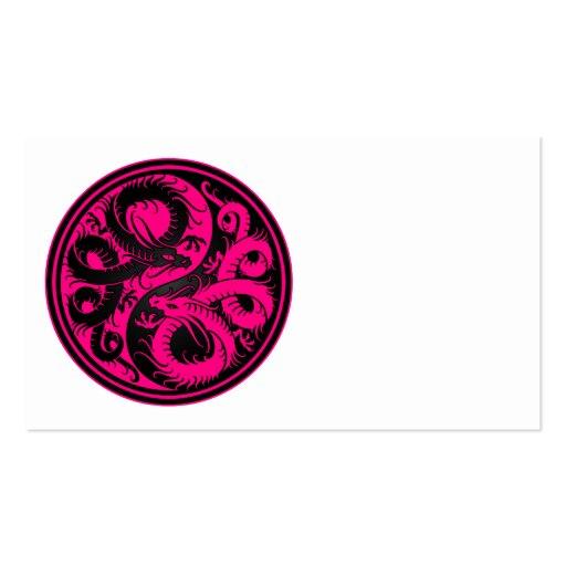 Pink and Black Yin Yang Chinese Dragons Business Card