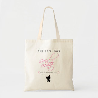Pink and Black Yorkie Soul Mate Silhouette Pet Tote Bag