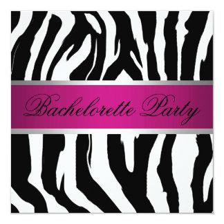 Pink and Black Zebra Bachelorette Party 13 Cm X 13 Cm Square Invitation Card