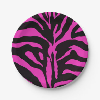 Pink and black zebra background modern fashion paper plate