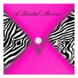 Pink and Black Zebra Bridal Shower Personalised Invitation