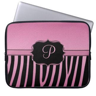 Pink and Black Zebra Monogram Laptop Sleeve