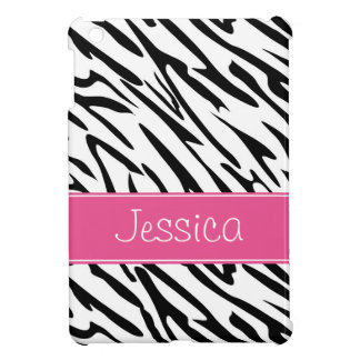 Pink and Black Zebra Pern Personalized iPad Mini Case