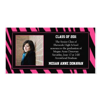 Pink and Black Zebra Photo Graduation Invitation Photo Greeting Card