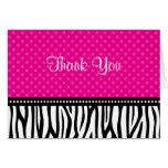 Pink and Black Zebra Polka Dot Thank You
