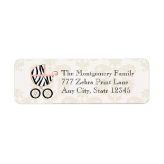 Pink and Black Zebra Print Baby Carriage Address