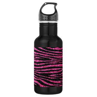 Pink and Black Zebra Print bling (faux glitter) 532 Ml Water Bottle