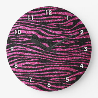 Pink and Black Zebra Print bling (faux glitter) Large Clock