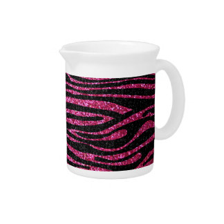 Pink and Black Zebra Print bling (faux glitter) Pitcher