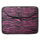 Pink and Black Zebra Print bling (faux glitter) Sleeve For MacBook Pro