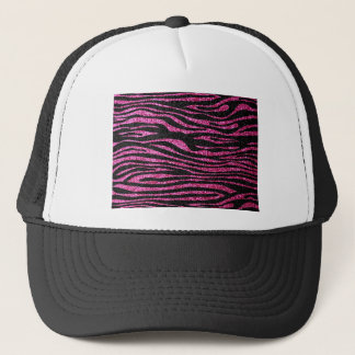 Pink and Black Zebra Print bling (faux glitter) Trucker Hat