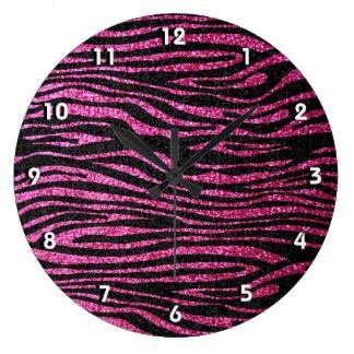 Pink and Black Zebra Print bling (faux glitter) Wall Clock