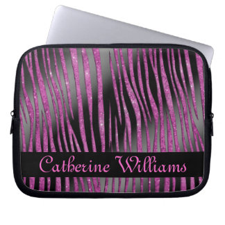 Pink and Black Zebra Skin Pattern on Glitter Laptop Computer Sleeves