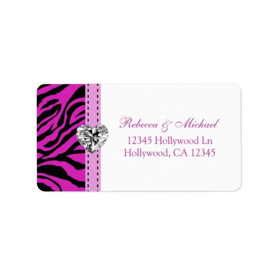 Pink and Black Zebra Stripes Address Labels