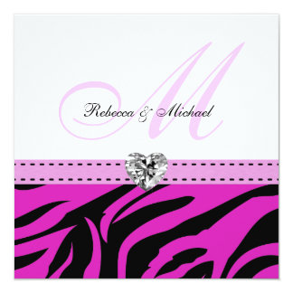 Pink and Black Zebra Stripes Wedding Invitations