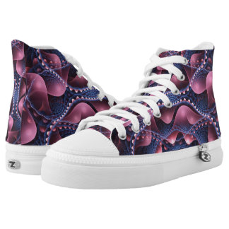 Pink and blue abstract Art High Top Shoes Printed Shoes